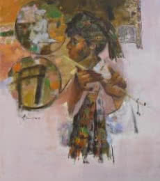 Figurative Oil Art Painting title 'Tuning With Nature 3' by artist Ajay Deshpande