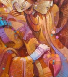 Figurative Acrylic Art Painting title Egyptian King And The Queen by artist Nityam Singharoy
