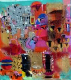 Madan Lal | Acrylic Painting title Urban Mirage 1 on Canvas | Artist Madan Lal Gallery | ArtZolo.com