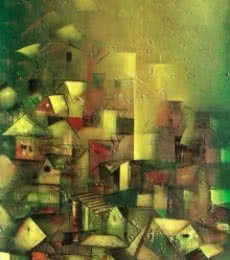 The Golden Village | Painting by artist M Singh | acrylic | Canvas