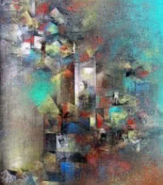 M Singh Paintings | Abstract Painting - Distant View by artist M Singh | ArtZolo.com