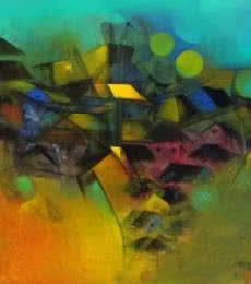 Abstract Acrylic Art Painting title Village In My Dream by artist M Singh