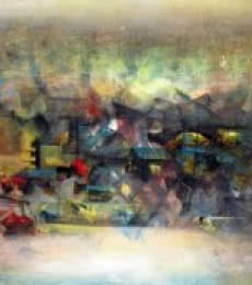Abstract Acrylic Art Painting title Abstract City by artist M Singh