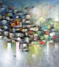 Abstract Acrylic Art Painting title 'Village Of Your And My Dreams' by artist M Singh
