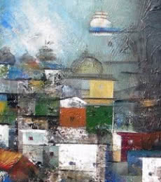 Abstract Acrylic Art Painting title Banaras Street by artist M Singh
