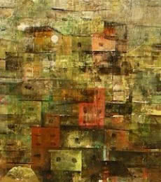 Abstract Acrylic Art Painting title A Glimpse Of Village 2 by artist M Singh