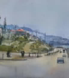 Cityscape Watercolor Art Painting title Antalya Turkey by artist Bijay Biswaal