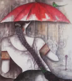 Figurative Acrylic Art Painting title 'Girl with Red Umbrella' by artist Kappari Kishan