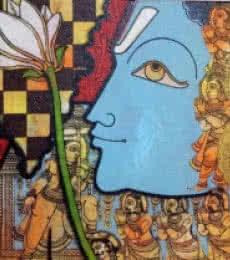 Religious Acrylic Art Painting title 'Vishnu 2' by artist Ramesh Gorjala