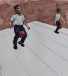 Figurative Watercolor Art Painting title Ball Race by artist Manoj Sakale