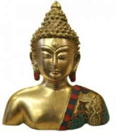 Brass Art | Brass Buddha Bust With Stones Craft Craft by artist Brass Art | Indian Handicraft | ArtZolo.com
