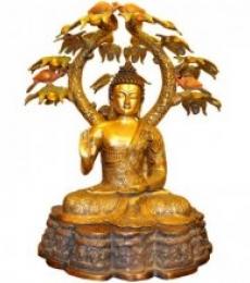 Brass Art | Brass Buddha Under Multicolor Tree Craft Craft by artist Brass Art | Indian Handicraft | ArtZolo.com