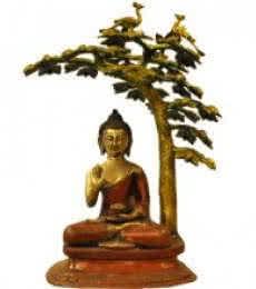 Brass Art | Brass Buddha Under The Tree Craft Craft by artist Brass Art | Indian Handicraft | ArtZolo.com