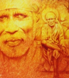Religious Oil Art Painting title 'Sai Baba' by artist Prince Chand