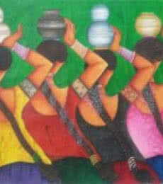 Figurative Acrylic Art Painting title 'Village Girls' by artist Kappari Kishan