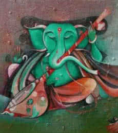 Religious Acrylic Art Painting title Sitting Ganesha Playing Sitar by artist M Singh