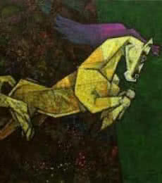 Animals Acrylic Art Painting title 'Charging Ahead In My Dreams i' by artist Dinkar Jadhav