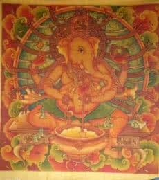 Religious Acrylic Art Painting title 'Ganesha 5' by artist Manikandan Punnakkal