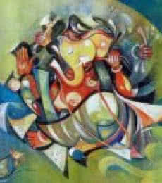 Blessing Ganesha | Painting by artist M Singh | acrylic | Canvas