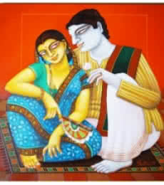 Figurative Acrylic Art Painting title 'Babu and Bibi 5' by artist Gautam Mukherjee