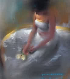 Figurative Oil-pastel Art Painting title Girl in White by artist Pramod Kurlekar