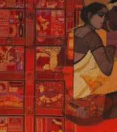 Figurative Acrylic Art Painting title Toy Seller Red by artist Siddharth Shingade
