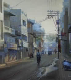 Cityscape Oil Art Painting title 'Mahal Morning' by artist Bijay Biswaal