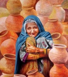 Realistic Acrylic Art Painting title 'Pot Seller' by artist Milind Varangaonkar