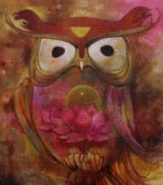 Rajeshwar Nyalapalli | Acrylic Painting title Owl 2 on Canvas | Artist Rajeshwar Nyalapalli Gallery | ArtZolo.com