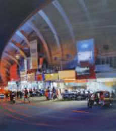 Cityscape Acrylic Art Painting title Raat Baaki I by artist Bijay Biswaal