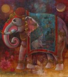 Gajendra | Painting by artist Rajeshwar Nyalapalli | acrylic | Canvas