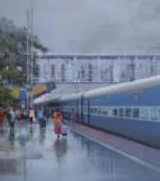 Cityscape Acrylic Art Painting title 'Rajnandgaon Wet Platform II' by artist Bijay Biswaal