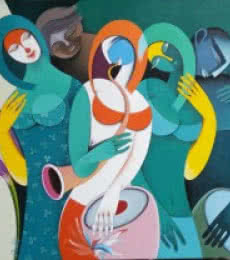 Rhythm Melodies III | Painting by artist Pradip Sarkar | acrylic | Canvas