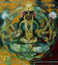 Figurative Acrylic Art Painting title 'Shakthi 5' by artist Rajeshwar Nyalapalli