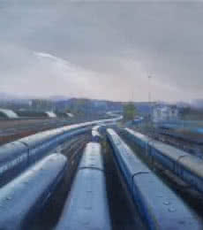 Cityscape Acrylic Art Painting title Train Trail by artist Bijay Biswaal