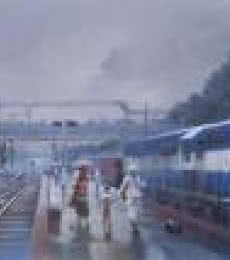 Wet Platform Baroda | Painting by artist Bijay Biswaal | acrylic | Canvas
