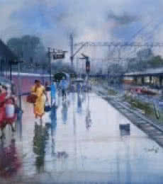 Cityscape Watercolor Art Painting title Wet Platform Nagpur by artist Bijay Biswaal