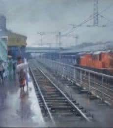 Cityscape Acrylic Art Painting title 'Wet Platform Nagpur' by artist Bijay Biswaal