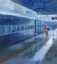 Cityscape Acrylic Art Painting title 'Wet Platform Nagpur II' by artist Bijay Biswaal