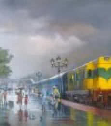 Cityscape Acrylic Art Painting title 'Wet Platform Yellow Train' by artist Bijay Biswaal