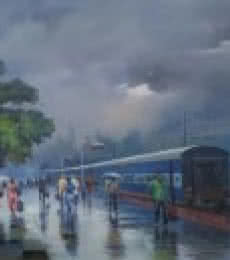 Cityscape Acrylic Art Painting title Wide Wet Platform II by artist Bijay Biswaal