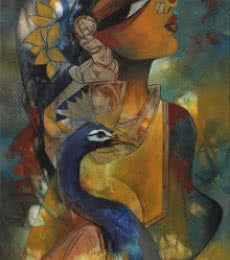 Figurative Acrylic Art Painting title 'Woman with Peacock' by artist Rajeshwar Nyalapalli