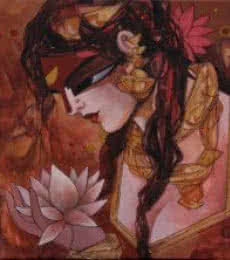 Woman With Lotus | Painting by artist Rajeshwar Nyalapalli | acrylic | Canvas