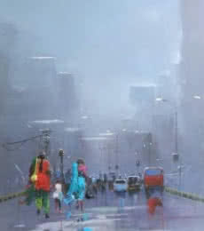 Bijay Biswaal | Acrylic Painting title Rainy Day on Canvas | Artist Bijay Biswaal Gallery | ArtZolo.com