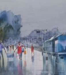 Cityscape Watercolor Art Painting title Wet Platform Pune by artist Bijay Biswaal