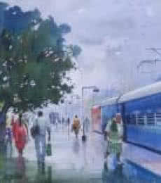 Cityscape Watercolor Art Painting title Wet Platform Korba by artist Bijay Biswaal