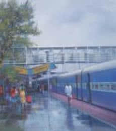 Bijay Biswaal | Watercolor Painting title Wet Platform Rajnandgaon on Canvas | Artist Bijay Biswaal Gallery | ArtZolo.com