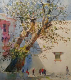 Bijay Biswaal | Watercolor Painting title Banyan Tree on Paper | Artist Bijay Biswaal Gallery | ArtZolo.com