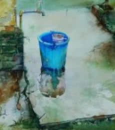 Bijay Biswaal | Watercolor Painting title Blue Bucket on Canson Paper | Artist Bijay Biswaal Gallery | ArtZolo.com