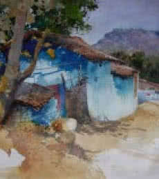 Blue Houe In Diongergarh | Painting by artist Bijay Biswaal | watercolor | Handmade Paper